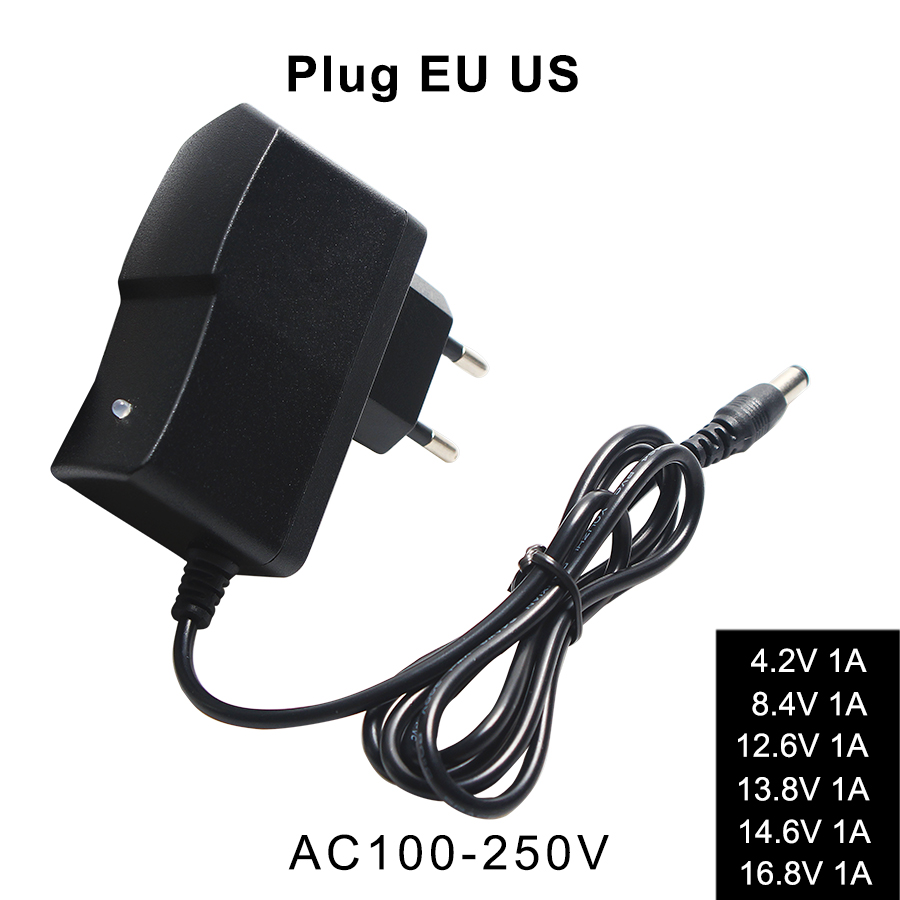 Charger Lithium Battery Charger for 18650 AC 110-240V to DC 4.2V 8.4V 12.6V 13.8V 14.6V 16.8V <font><b>21V</b></font> 1A Wall <font><b>Adapter</b></font> Automatic image