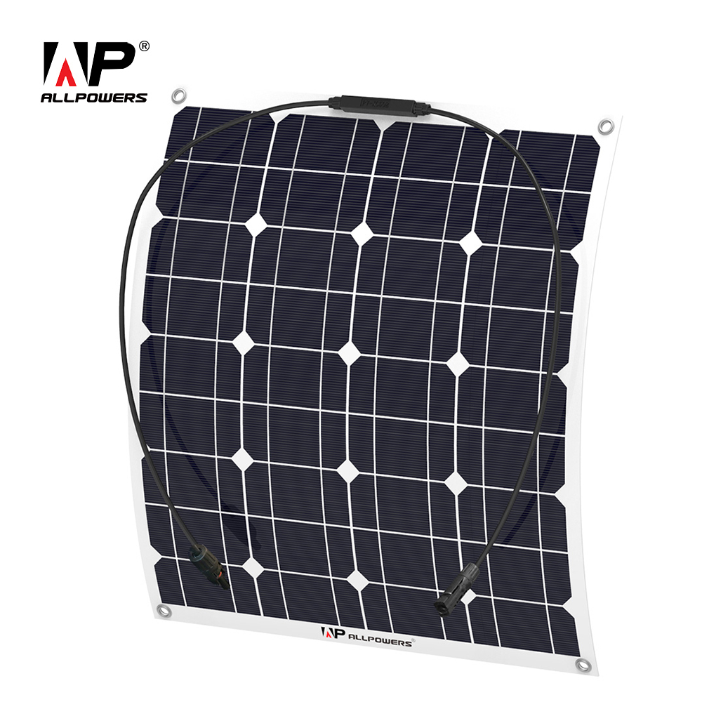 ALLPOWERS Solar Battery Flexible Solar Panel 50W 12V 18V 22V Solar System Kits for RV Fishing Boat Cabin Camping Yachts Vehicle. 2pcs 4pcs mono 20v 100w flexible solar panel modules for fishing boat car rv 12v battery solar charger 36 solar cells 100w