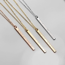 Name Necklaces Sides Engraving Personalized Square Bar Custom Necklace Stainless Steel Pendant Women/Men Gift