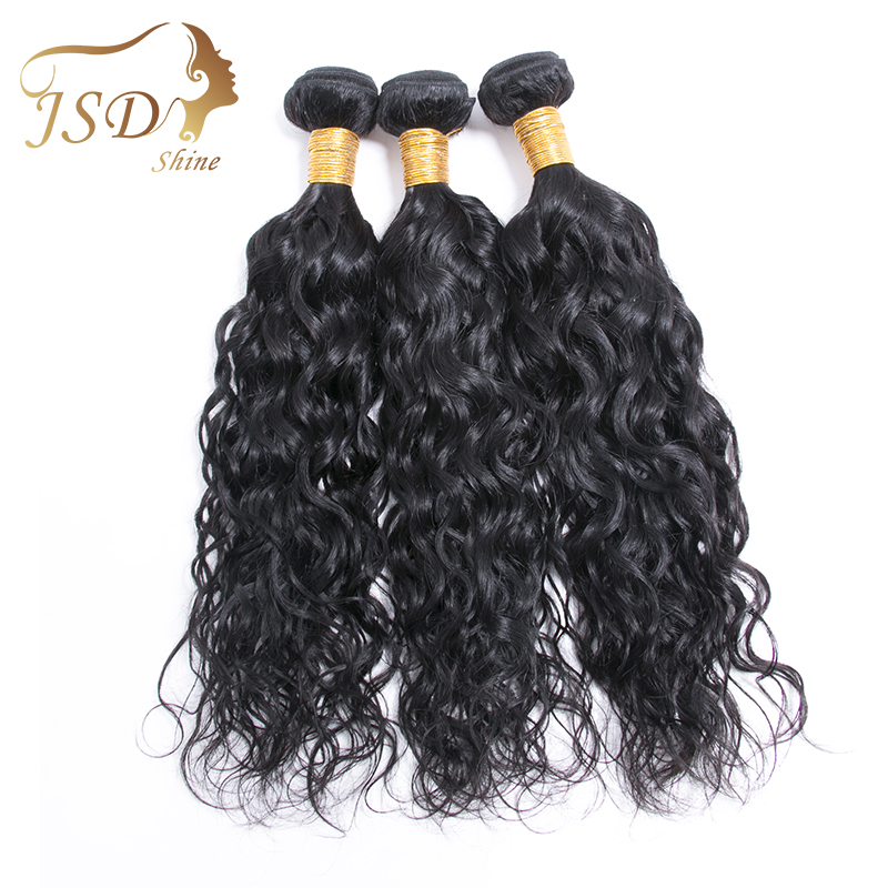 JSDshine Peruvian Water Wave Hair Bundle 1Pc Accepted Customized 8-24Inch Hair Extension Non-Remy Human Hair Weave Hair Bundles