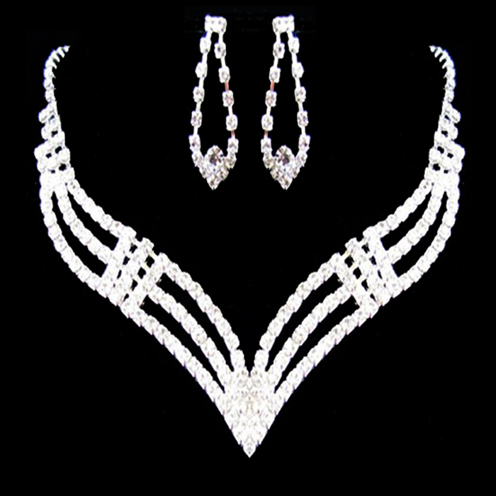 wedding bridal jewelry Rhinestone chain sets necklace earrings wedding chain sets white xl164