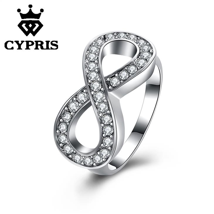 r085 wholesale price high quality nickle free antiallergic shining crystal fashion jewelry platinum plated infinite ring cypris
