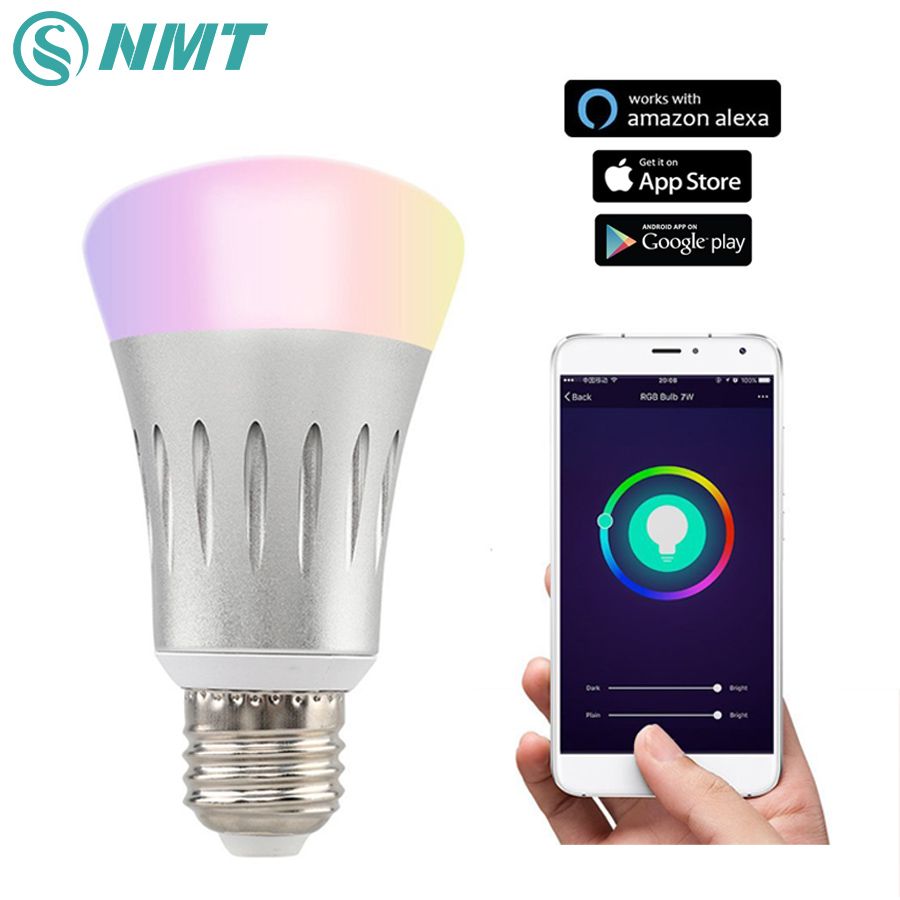 7W E27 Smart Wifi Control LED Bulb RGB+W Dimmable LED Bulb Lamp iOS/Android APP Amazon Echo Alexa Control magic 7w e27 wifi rgbw led light bulb smart wireless remote control le lamp color change dimmable for home hotel ios android