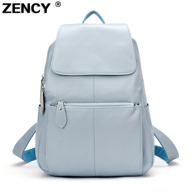 ZENCY 13 Colors Backpack 100% Real Genuine Cow Leather Cowhide Women Female First Layer Cow Leather School Book Backpacks Bags(Hong Kong,China)