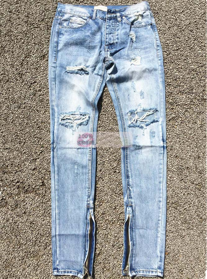 ФОТО Best version fear of god FOG men Selvedge zipper destroyed skinny slim fit justin bieber Vintage ripped blue denim jeans