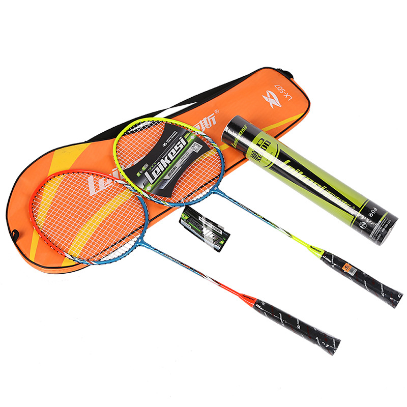 NEW 2pcs/set  Iron Aolly Badminton Rackets Battledore For Beginner Students Amateur Training Outdoor Sports With Bag Badminton
