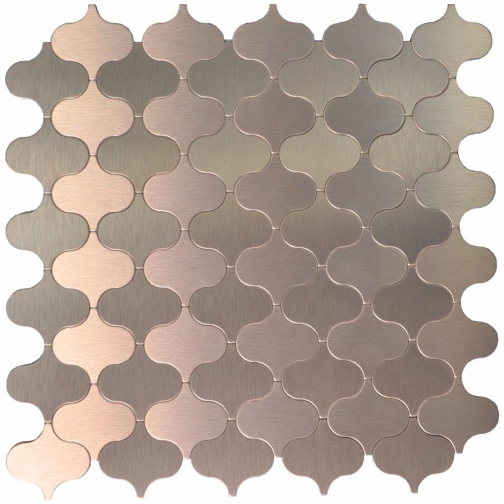 peel stick tile metal sel adhesive mosaic steel backsplashes for kitchen arabesque bronze decorative wall tiles 10 pieces