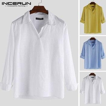 Camiseta de manga de siete puntos para hombre con cuello en V INCERUN 2019 verano hombres Color sólido pequeño pulóver fresco suelto moda literaria camisa 5XL