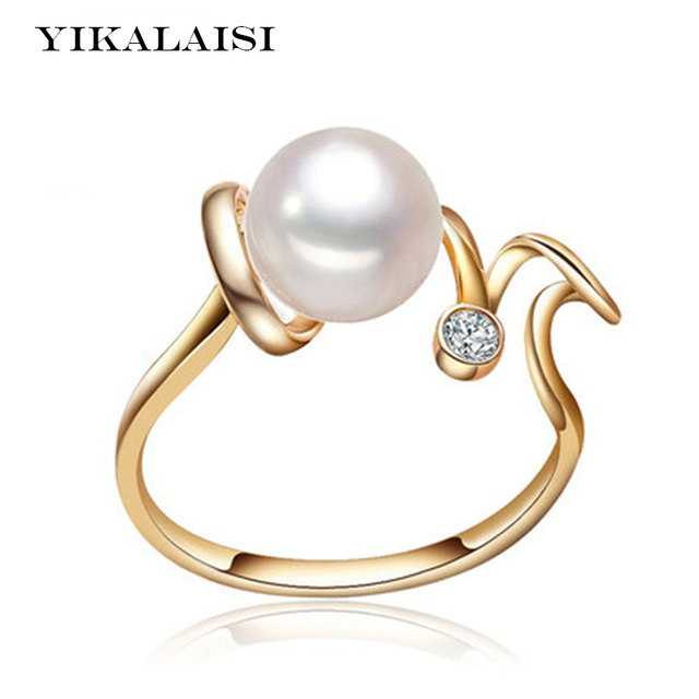yikalaisi 2017 new 100 pearl ring jewelry love ring freshwater pearl wedding rings 925 sterling - Pearl Wedding Ring