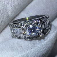 choucong solitaire Male Ring 5A Zircon sona Cz White Gold Filled Engagement Wedding Band Rings for men Finger Jewelry