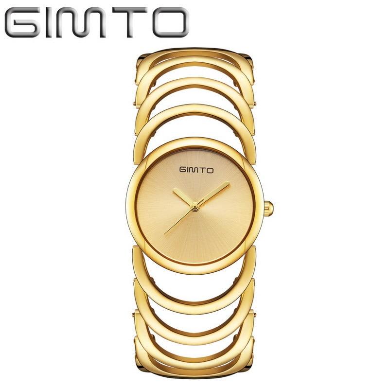 GIMTO 2018 New Fashion Quartz Watches Women Steel Dress Bracelet Gold Waterproof Girls Ladies Wrist Watch Luxury Female Relogio цена