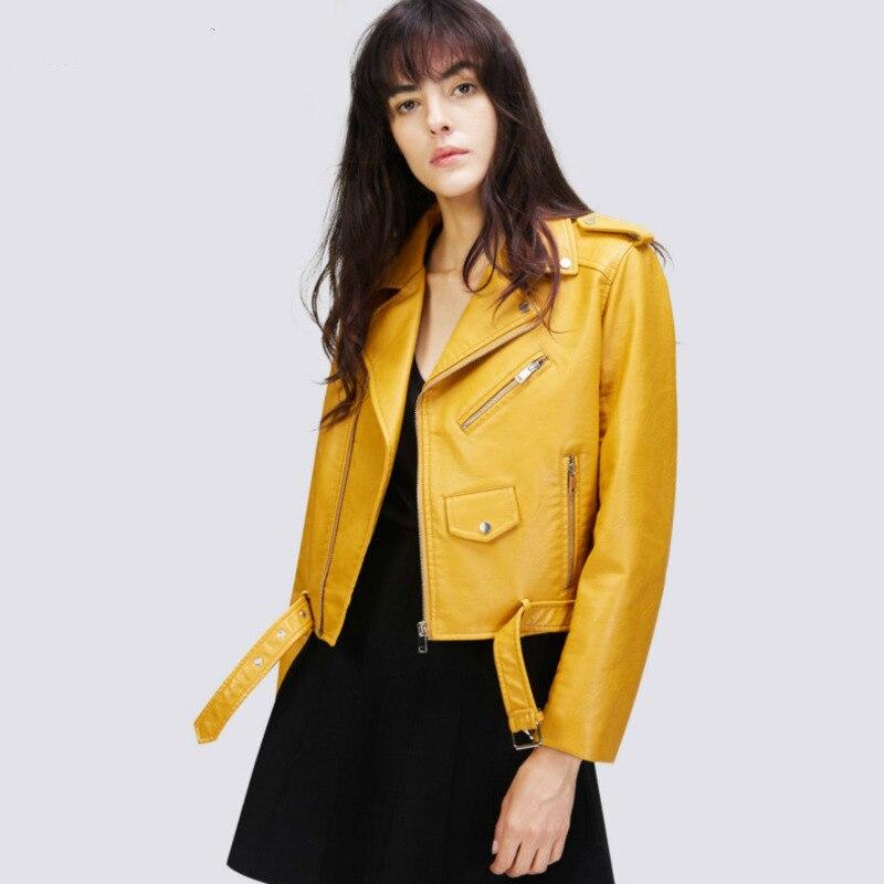Veste jaune moto pour femme en Faux cuir pour femmes en cuir printemps et automne manteau ceinture Pu hauts décontracté couleur Pure