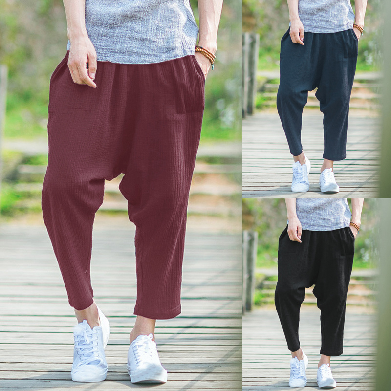 Plus Size 2018 Men's Harem Pants Drop Crotch Elastic Waist Solid Harajuku Vintage Male Trousers Casual Ankle Length Pants Men