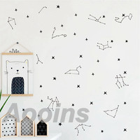 Large Size Zodiac Constellation Wall Decals Art Nursery Wall Decoration Zodiac Stars Vinyl Art Sticker Baby Room Wall Decor