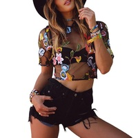 Summer Women Crop Top Lace Camisoles Tanks Embroidery Tanks Camis Print Sexy Hollow Out Short Sleeve