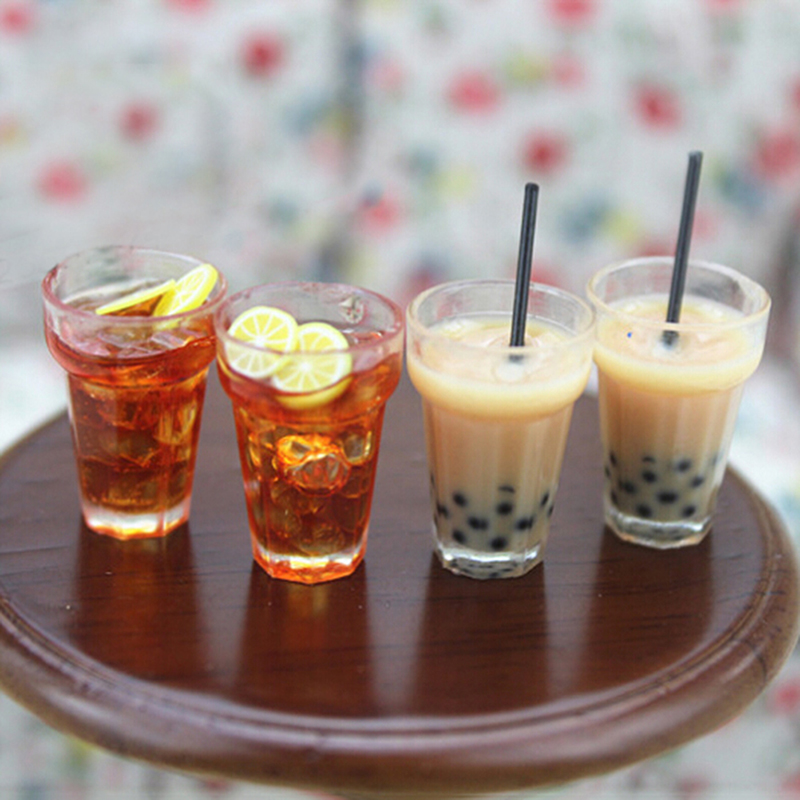 1/12 Dollhouse Miniature Accessories Decoration Mini Lemon Water Cup Simulation Lemonade Cup Drink Pearl Milk Tea Model Toy