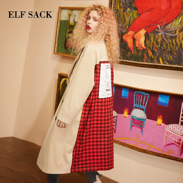 ELFSACK Plaid Back Casual Turn down Collar Double Breasted British Trench Coat Women 2019 Autumn Oversize Female Outwear