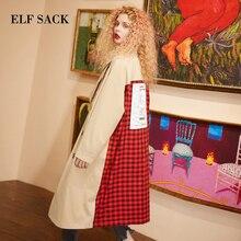 Elfsack xadrez volta casual turn down collar duplo breasted british trench coat feminino 2019 outono oversize outwear feminino