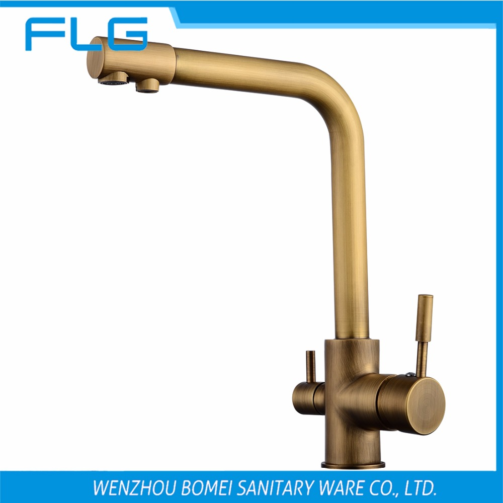 Free Shipping Brand NEW Kitchen Sink Faucet Tap Pure Water Filter Mixer Single Handles Antique Brass