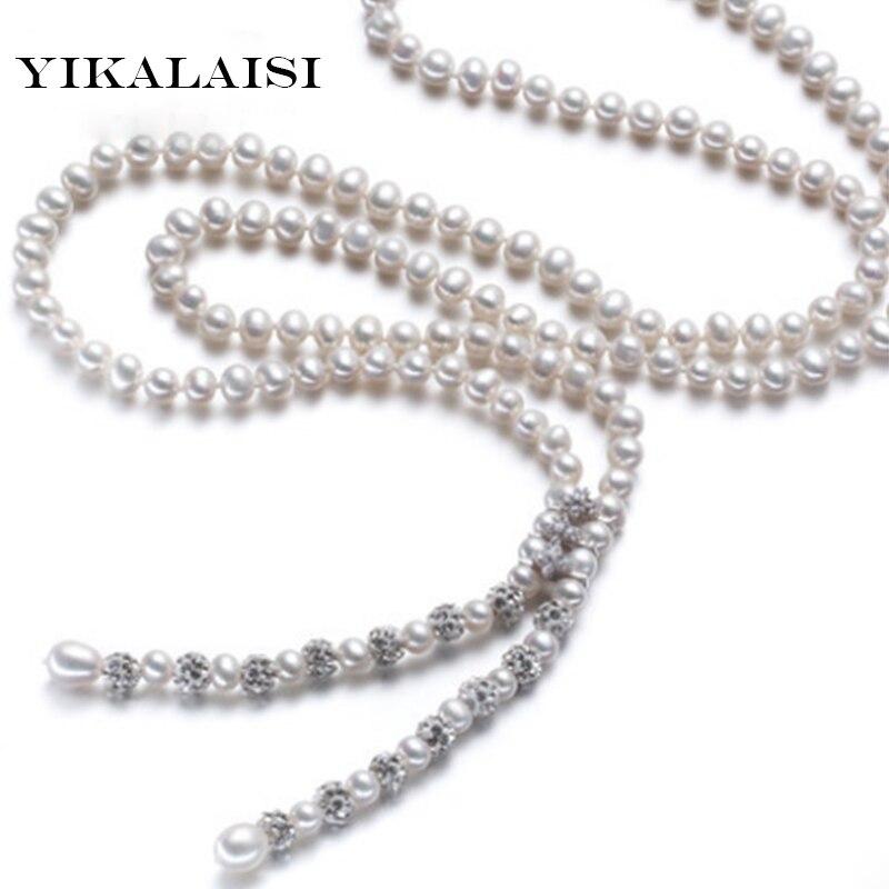 YIKALAISI 2017 Nouvelle Mode 100% naturel perle d'eau douce à long collier pour les femmes 90 cm longueur perle bijoux pour femmes meilleur cadeaux