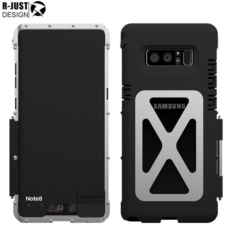 R-JUST Galaxy Note 8 Cover Rei Homem de Ferro Alumínio Metal Escudo Protetor Do Caso Da Aleta para Samsung Galaxy Note 8 Note8