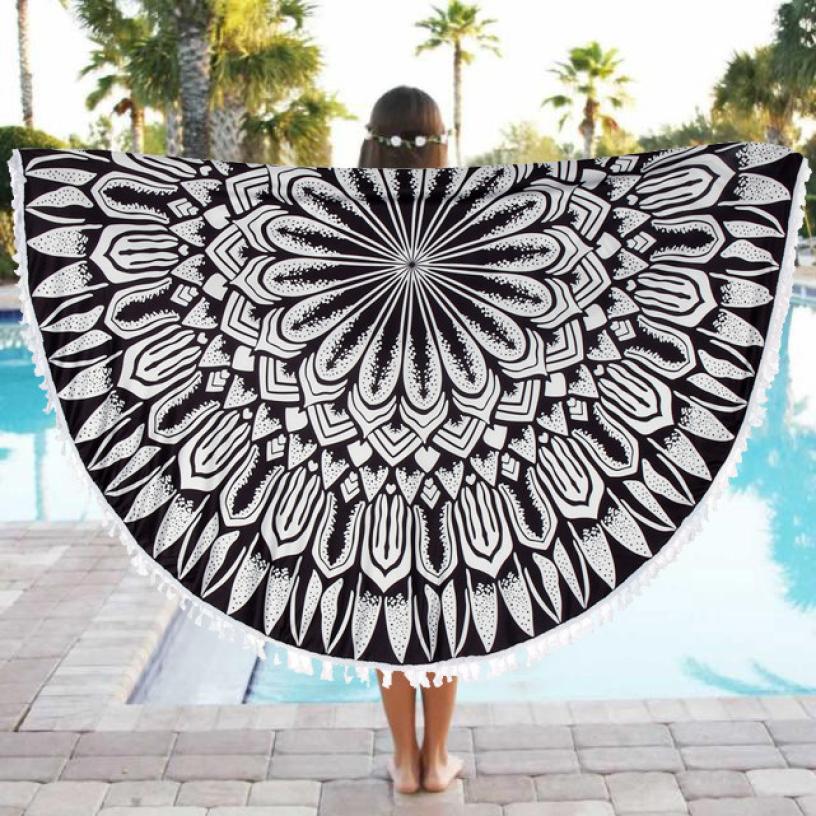2018 Super Soft Warm Round Beach Pool Home Shower Towel Blanket Table Cloth Yoga Mat Free Shipping DE13