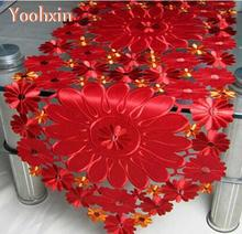 Modern satin red table runner cloth cover flag embroidery lace tea bed tablecloth Mantel nappe home Xmas Christmas wedding decor novel circular mesh pattern lace round tablecloth transparent christmas party wedding tea table mat decoration mantel nappe