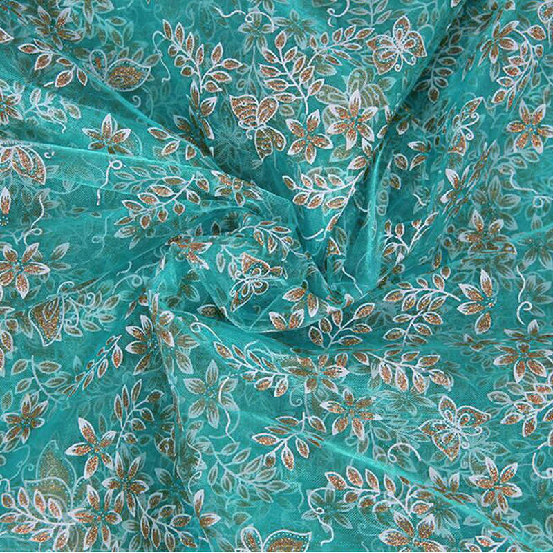 11856 50*147CM patchwork printed Gauze fabric (under the light the fabric looks blue or looks green)