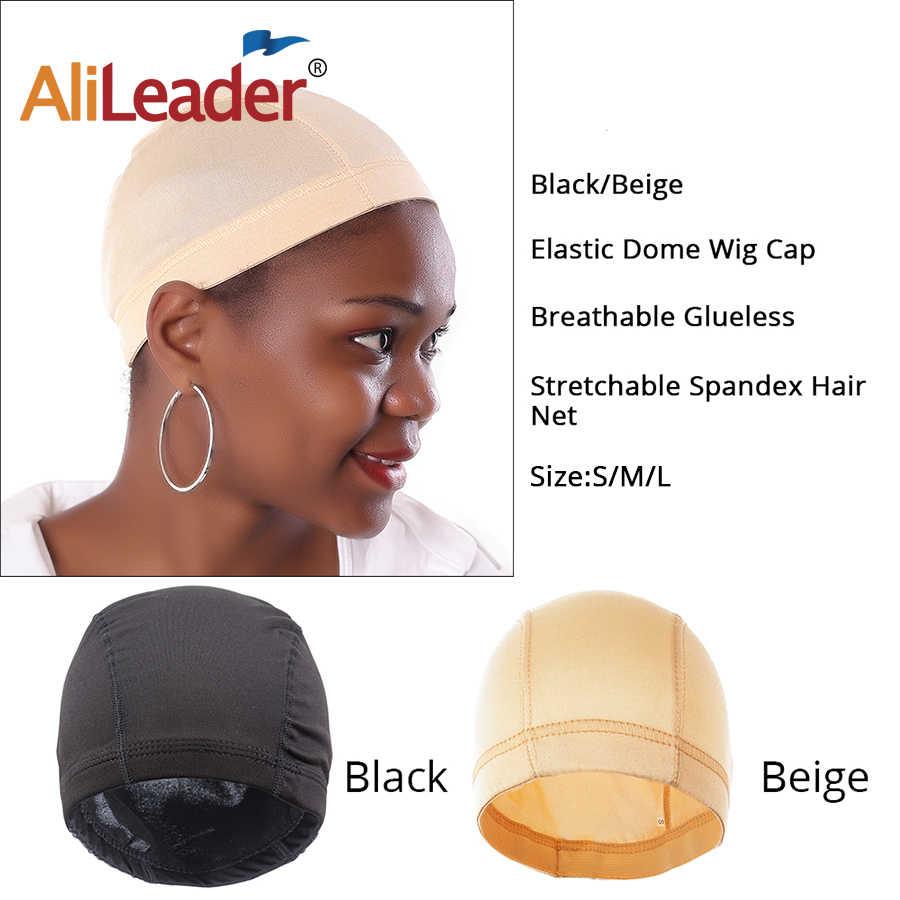 AliLeader L/M/S ราคาถูก Elastic ตาข่ายโดมหมวกสำหรับทำวิกผม Beige Spandex สีดำสุทธิ Glueless Hairnets วิกผม Liner