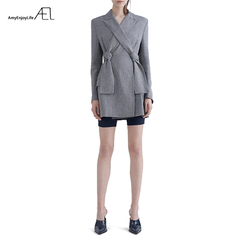 AEL New High Quality Autumn Spring Women's Blazer Elegant Fashion Lady Blazers Coat Suits with Bowknot 2019 Female Jacket Suit
