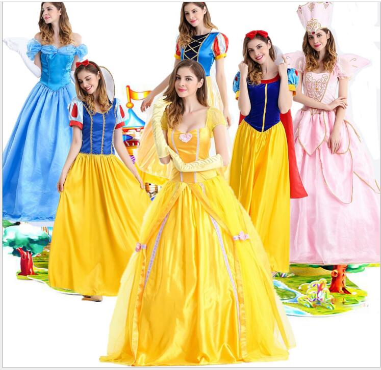 Snow White Princess Costume <font><b>Adult</b></font> Fantasias Feminina Princess Cosplay <font><b>Women</b></font> <font><b>Sexy</b></font> <font><b>Halloween</b></font> Role Play Cinderella cosplay Costume image