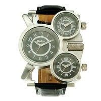 2016 Unieke ontwerp horloge 3 tijdzones Analoge sport modetrends hoogwaardige fantasy serie Lederen OULM 1167 mannen leger horloge