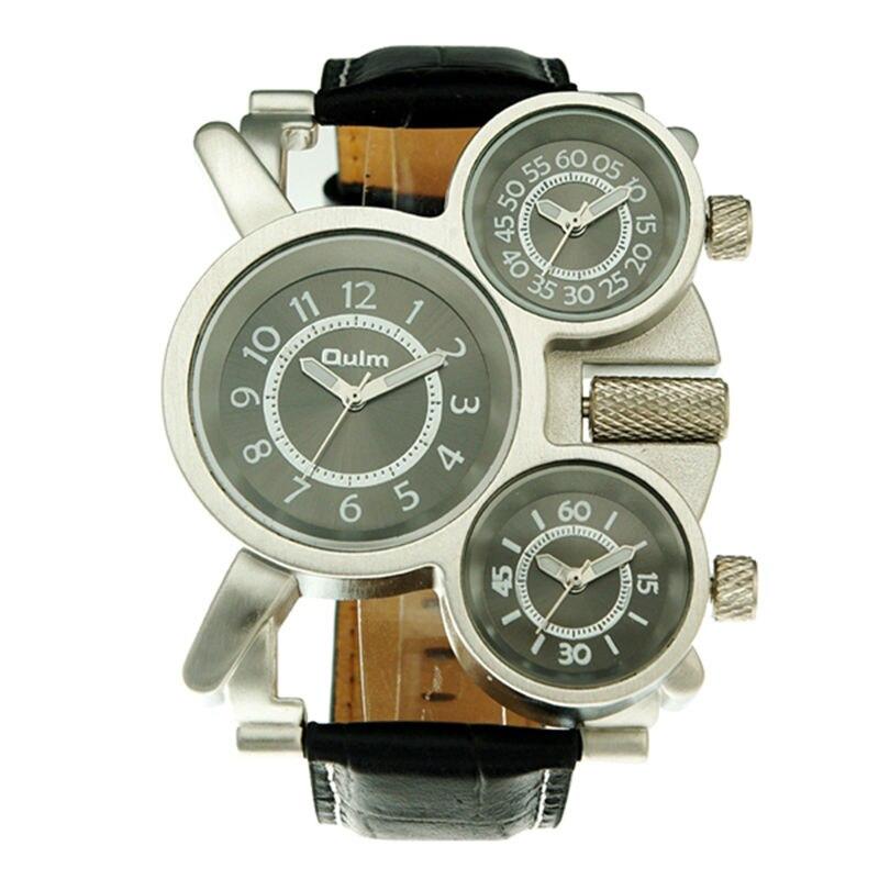 2018 Unikátní design hodinky 3 časové zóny Analogové sportovní módní trendy Vysoce kvalitní série fantasy Kůže OULM 1167 mužské hodinky