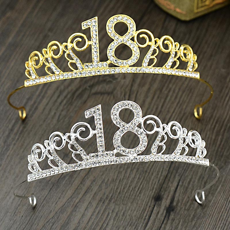 Silver/Gold Rhinestone 18 Years old Tiaras and Crown Girl Headband Headpiece Hair Jewelry Birthday Party Hair Accessories  LB