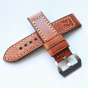 MERJUST Handmade 20MM 22MM 24MM 26MM Genuine Leather F4 Red Brown Watchband Wristband For PAM Big Pilot Strap