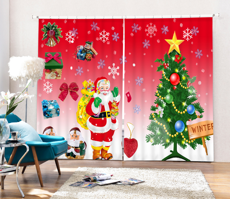 Christmas decorative Luxury 3D Blackout Window Curtains For Living room Bedding room Drapes  Santa Claus Cotinas para sala Christmas decorative Luxury 3D Blackout Window Curtains For Living room Bedding room Drapes  Santa Claus Cotinas para sala
