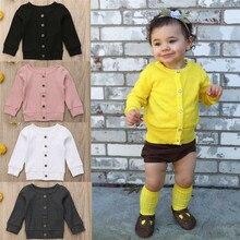 PUDCOCO/Новинка; вязаный осенний свитер с длинными рукавами для новорожденных девочек и мальчиков; кардиган на пуговицах; Верхняя одежда; повседневные топы; детская одежда