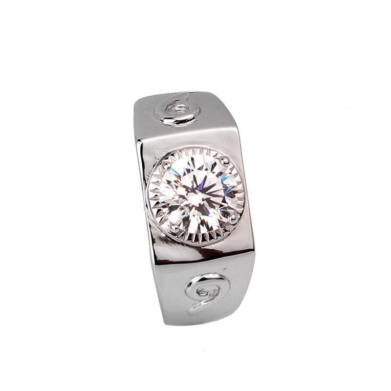 2ct créé bague Diamante hommes 925 argent 925 bijoux de mariage Sterling 8mm pierre R512D anniversaire de fiançailles pour mari