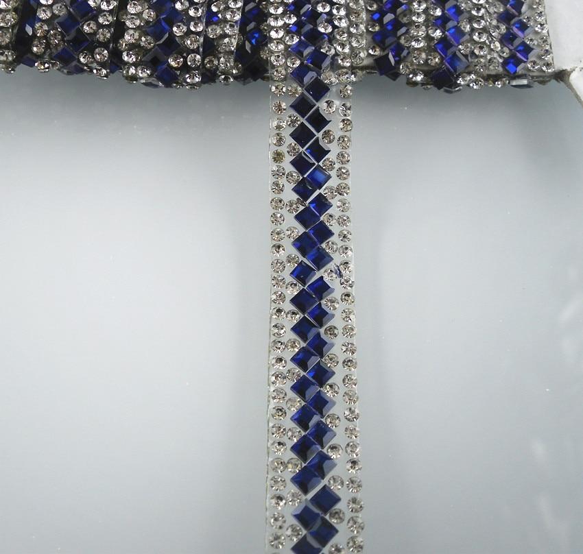 Hotfix round square glass crystal rhinestones tape applique decoration chain L30