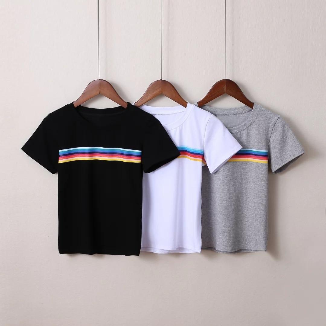 2018 New Harajuku Rainbow Stripe T-shirt Casual Short Sleeve Slim Cotton O-Neck Crop T-shirt