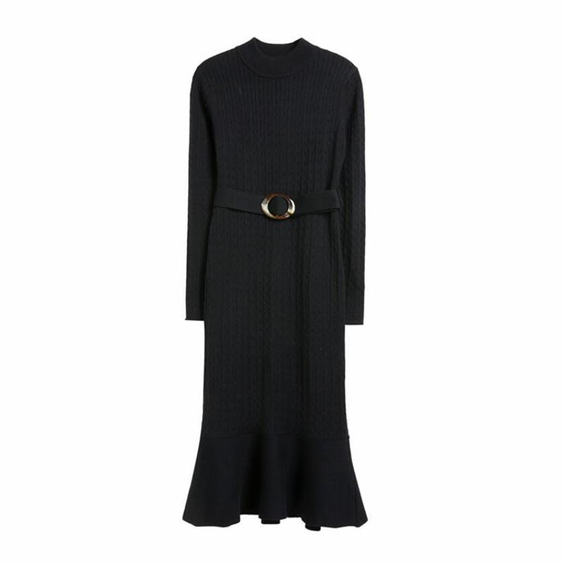 Noir kaki Hiver Chandail Femmes W2681 Tricoté Automne Moulante Longues Robes Kaki Manches Lady Élastique À Robe Noir aqq7w6gx5E