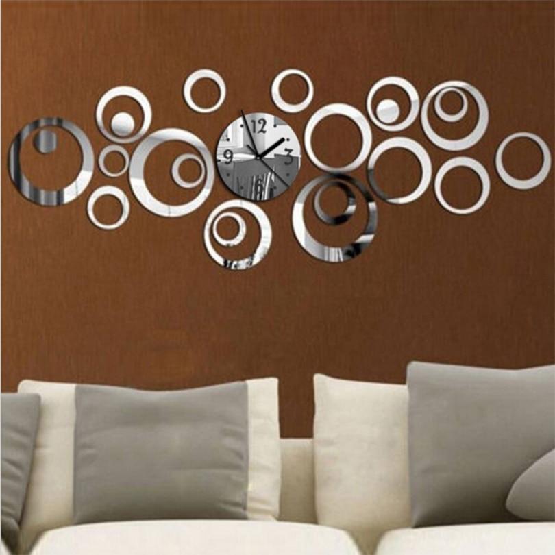 Новые кварцевые круглые зеркальные настенные часы Европейский дизайн большие декоративные часы 3d акриловые домашний декор для гостиной