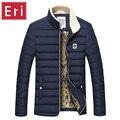 Homens jaqueta de Inverno Outono Veludo Gola Amassado Engrossar Brasão Mens Casual Pure Magro Outwear Parka Jaqueta Com Zíper M-3XL X328