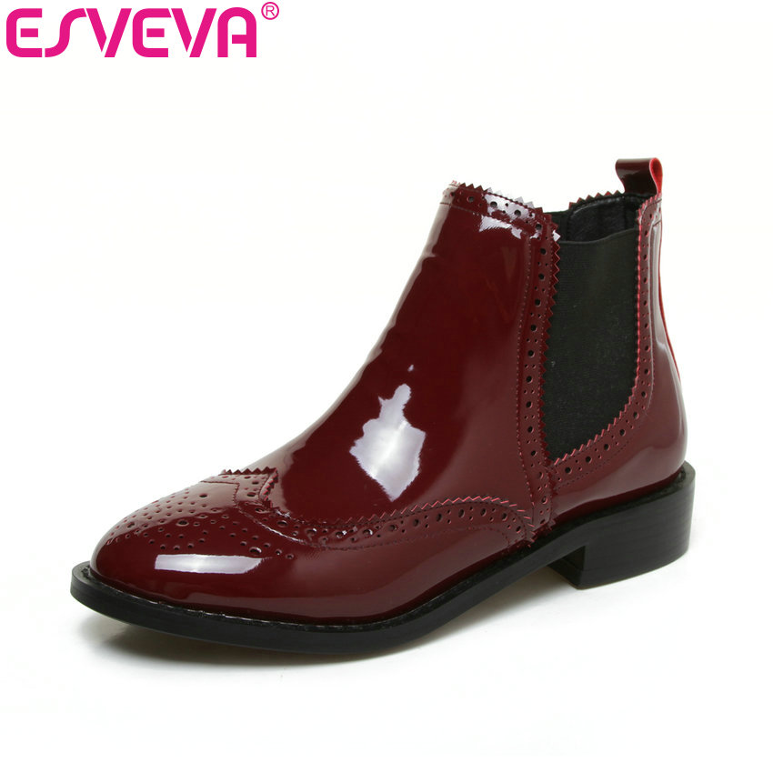 ESVEVA 2018 Autumn Women Boots British Style Slip on Solid Shoes Square Heel Ankle Boots Round Toe Lady Fashion Boots Size 34-43 vinlle 2017 women pumps college style square med heel vintage slip on pu leather shoes casual round toe girl shoes size 34 40