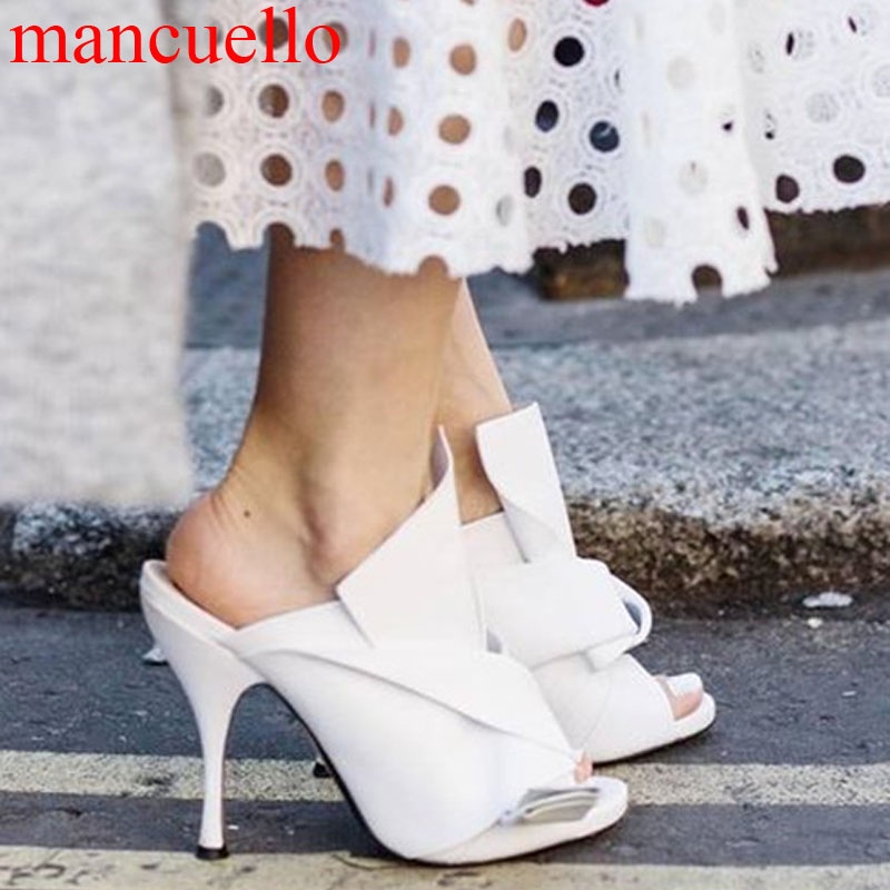 Summer Elegant Women Big Butterfly Knot Silk Slingback Slipper Sandals Stiletto High Heels Slide Sandals Party Dress Shoes