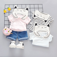 New Summer Casual Edition Childrens Short Sleeve Suit Cartoon Stripe Navy Lapel Shorts Two-piece