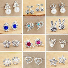 Hot Sale Cute Exquisite Simlated Pearl Crystal Stud Earring Butterfly Snowflake Star Triangle Crown Shape Bijoux Brincos