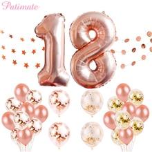 Patimate 생일 축하 풍선 로즈 골드 번호 ballons 18 생일 파티 장식 어린이 성인 18 생일 baloes 장식