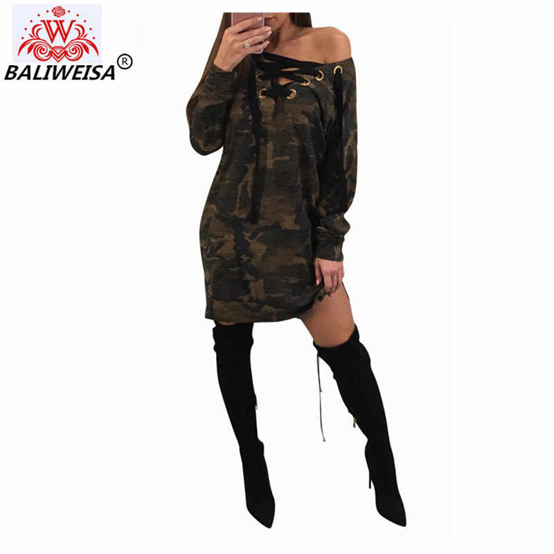 b128330dbf0 BALIWEISA Casual Long Sleeve Knee Length Dress Women Sexy V Neck Cutout  Cross Bandage Camo Loose