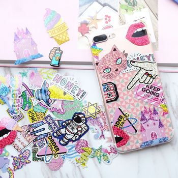 50pcs/1pack Kawaii Unicorn Cat LaserTravel Diary Planner Decorative Mobile Stickers Scrapbooking Craft Stationery Stickers 1
